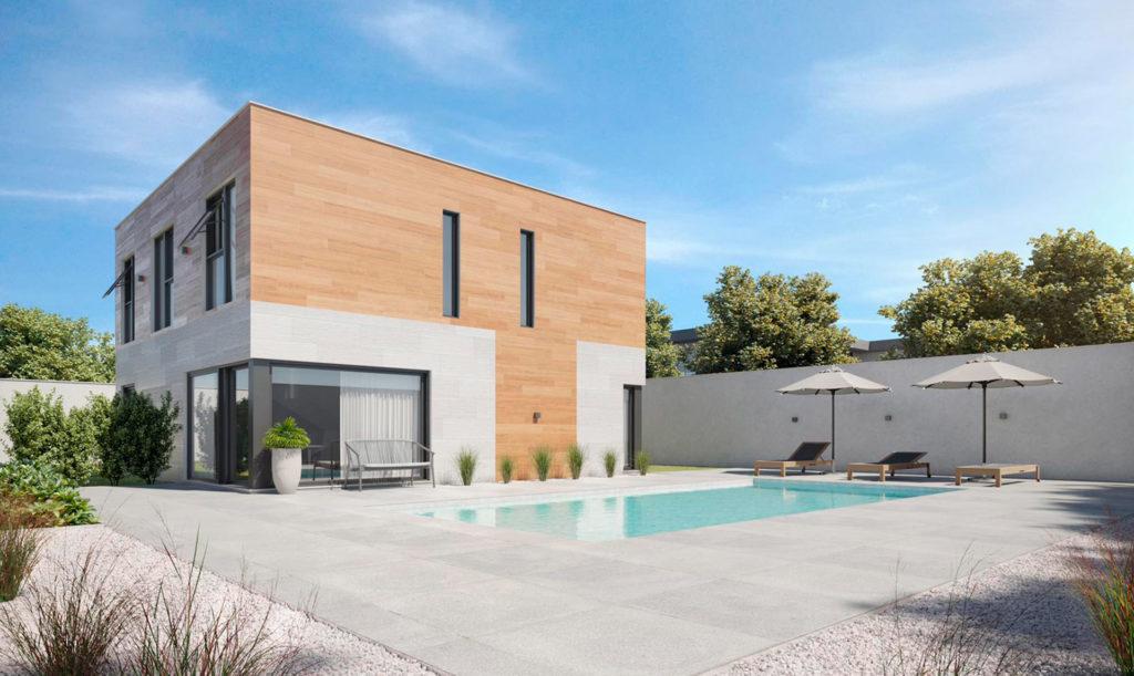 Muros prefabricados de hormigón: diseños de casas modulares de Modulartis